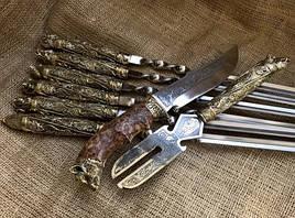 """Шампура подарочные """"Дикие звери"""" с вилкой для снятия мяса и ножом"""