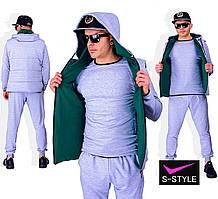 Мужской спортивный костюм тройка 44-56 р серый+зелёный