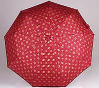 Женский брендовый складной зонт полный автомат 5599 бордовый, фото 1