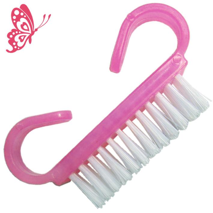 Щетка для Ногтей Малая из Искусственного Ворса Розового Плотного Пластика