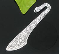 Закладка для Книги, Цинковый сплав, Античное серебро, с узором, 8.1 см
