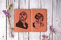 Парные обложки на паспорта с индивидуальной гравировкой. Персональный подарок на свадьбу