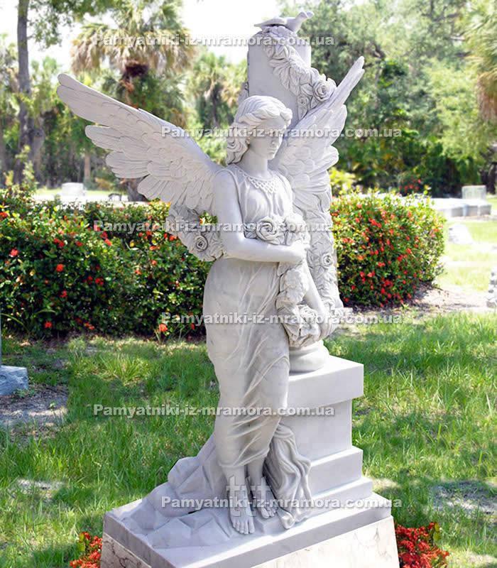 Ангел с голубем на колонне и розами № 20