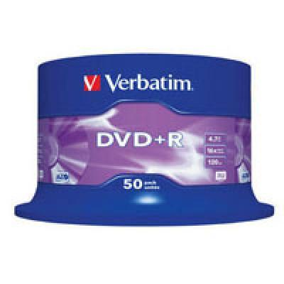 DVD+R Verbatim (43550) 4.7GB, 16x, Cake 50шт Silver