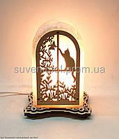 Соляной светильник арка с котиком
