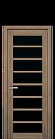 Межкомнатные двери Новый стиль Виола blk  с черным стеклом  дуб медовый