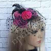 Шляпка Гламур маленькая с розой (розовая)