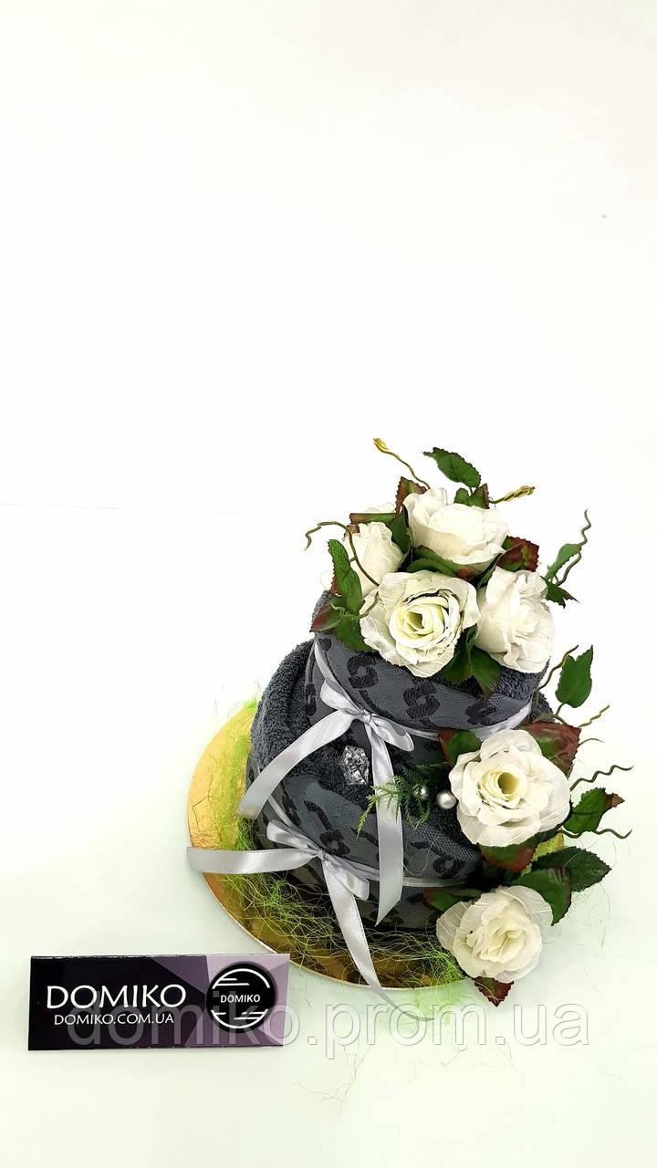 Торт из комплекта махровых полотенец (баня+лицо) Торжественная роза Domiko