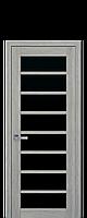 Межкомнатные двери Новый стиль Виола blk  с черным стеклом  дуб дымчатый