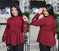 Женская блуза на пуговицах Батал до 56 р 18204, фото 1