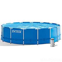 Intex Бассейн каркасный 28242 NP (1) от 6 лет, лестница, тент, подстилка, насос и фильтр в комплекте, диаметр 457см, высота 122см