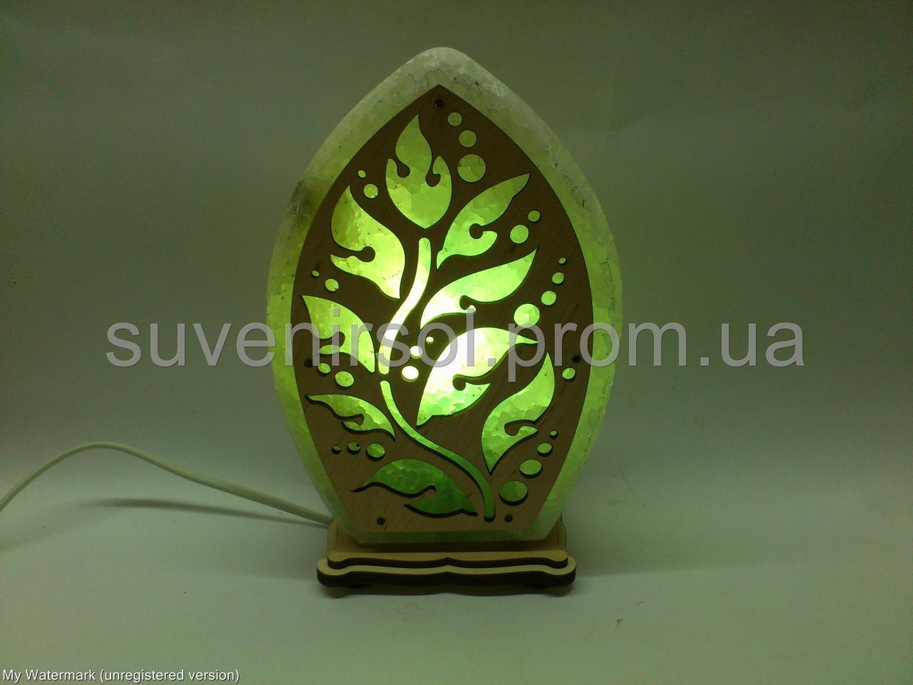 Соляний світильник Листочок візерунок зелений