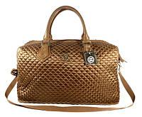 Дорожная сумка - саквояж 5340 коричневая стеганая, текстиль, фото 1