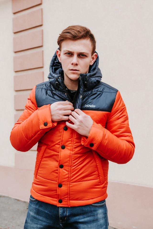 "Курточка утепленная весенняя/осенняя мужская Intruder ""Brave Soul"", цвет черно-оранжевый, фото 1"