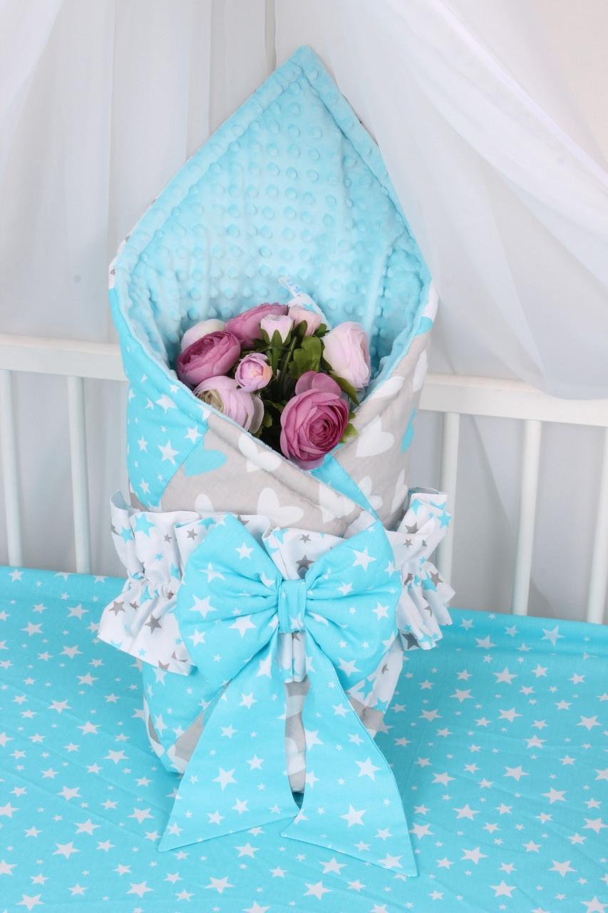 Конверт-одеяло на выписку небесно-голубой