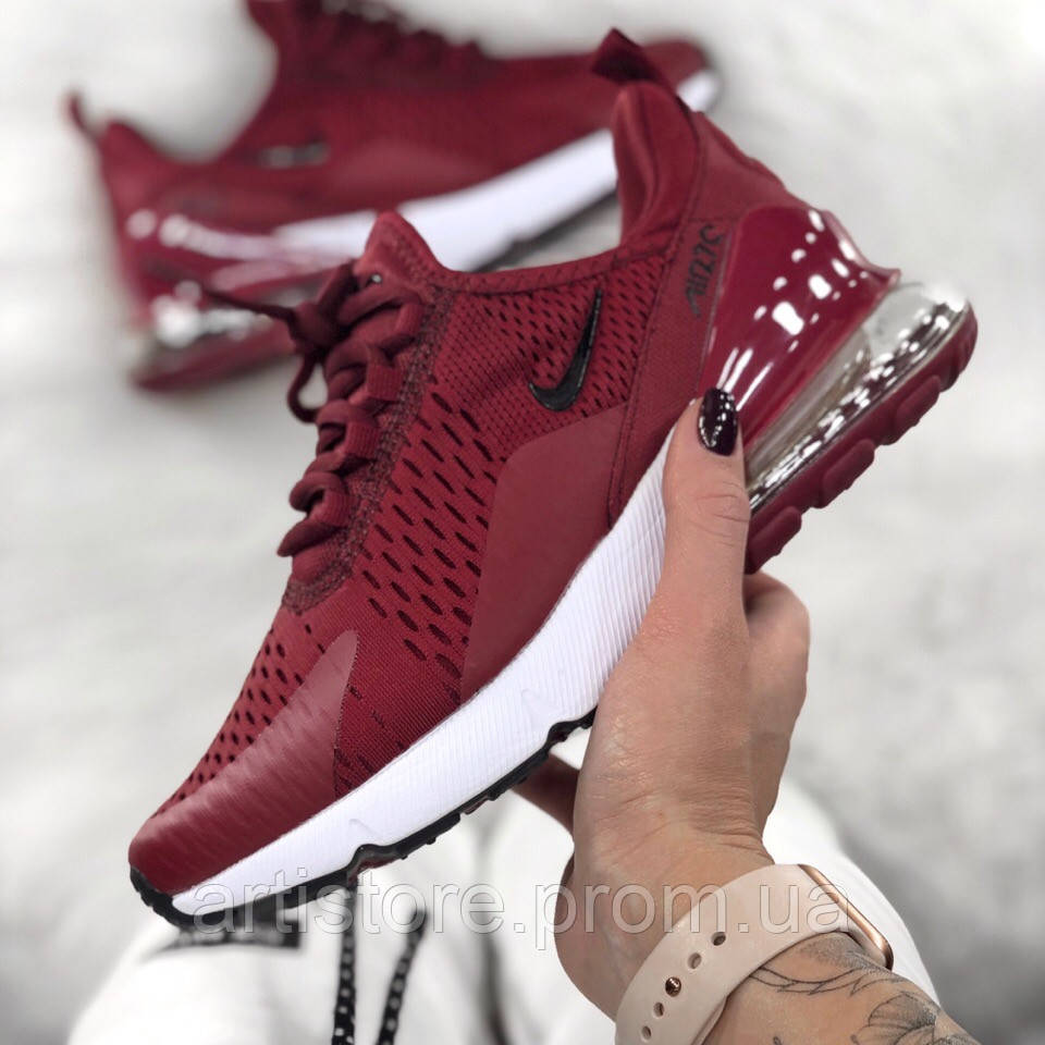 03e0320a Кроссовки Nike Air Max 270 Maroon with white and black Бордовые с черным и  белым