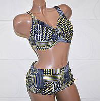 Красивая модель раздельного купальника для полных женщин с геометрическим узором 7XL (60)