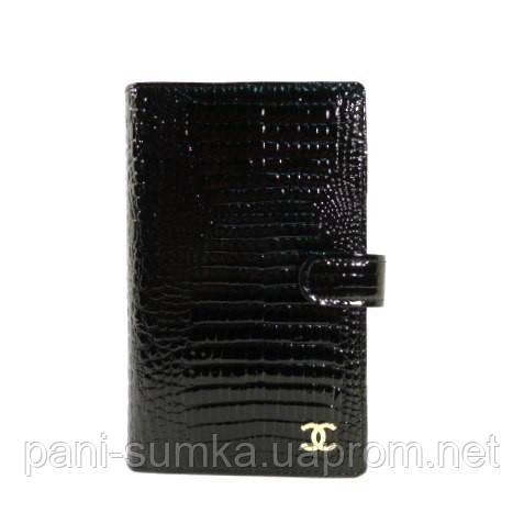 Кошелек женский кожаный, кредитница, тревеллер 9048 черный лаковый