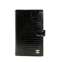 Кошелек женский кожаный, кредитница, тревеллер 9048 черный лаковый, фото 1