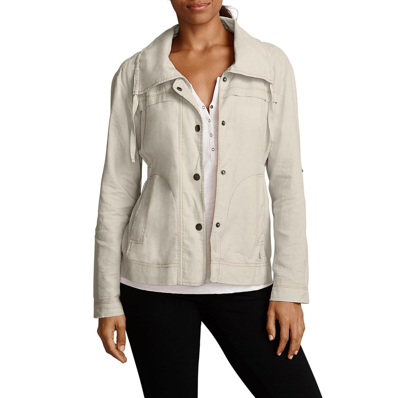 Женская ветровка Eddie Bauer Womens Blouse Jacket Linen PUTTY