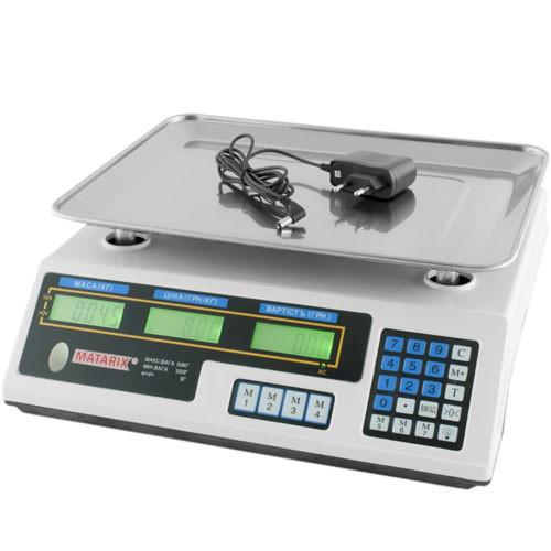 Торговые электронные весы Matarix MX 410A с двойным таблом (покупатель-продавец) до 50 кг