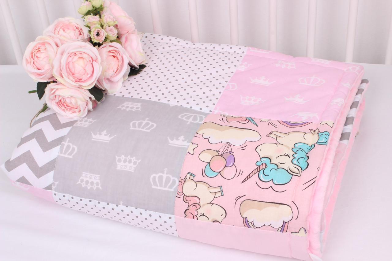 Детское теплое одеяло в нежно розовых тонах