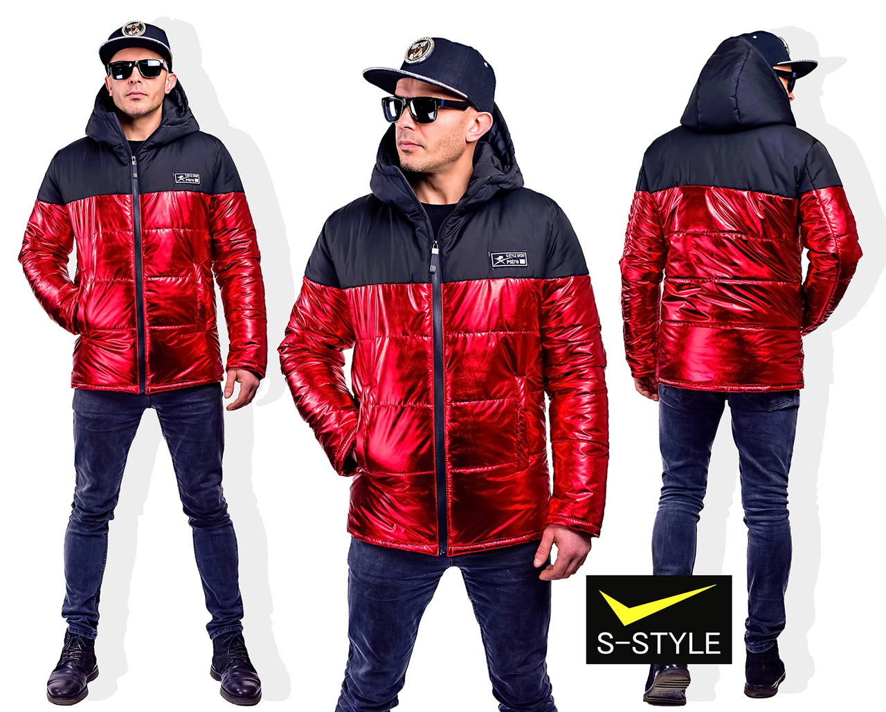 Мужская демисезонная куртка Майкл( двухцветная) 46-52 р красный+чёрный