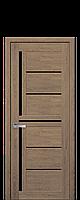 Межкомнатные двери Новый стиль Диана blk с черным стеклом  дуб медовый