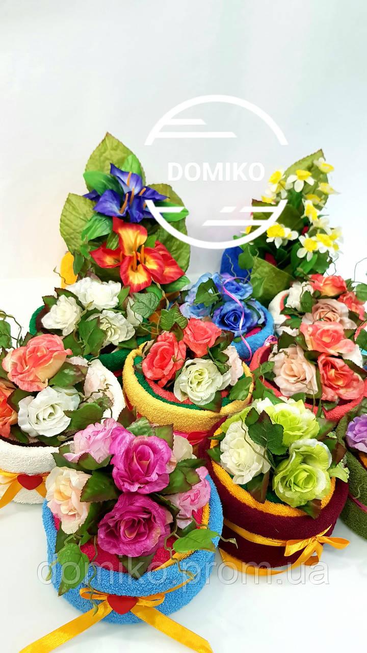 Тортик из трех махровых полотенец (40*70+40*70+30*50) Роза премиум Domiko