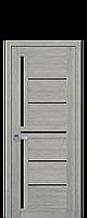 Межкомнатные двери Новый стиль Диана blk с черным стеклом  дуб дымчатый