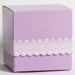 Упаковка для кружки картонная с крышкой (Ажур) фиолетовая