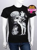 Оригинальная мужская футболка с светящимся рисунком волк с луной 50