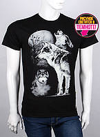 Оригинальная мужская футболка с светящимся рисунком волк с луной