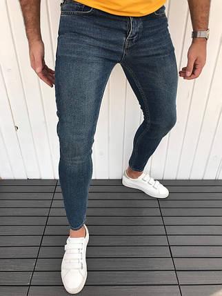 Джинсы мужские Slim Fit темно-синие, фото 2