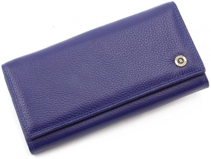 Синий матовый женский кожаный кошелек на магнитах Boston с внутренней металлической рамкой. S6001B Blue