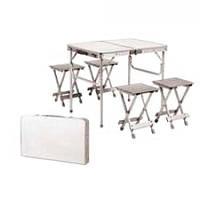 Складной алюминиевый стол-чемодан для пикника с 4 стульями (100*69*72см)