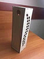 Подарункова дерев'яна коробка для пляшки з з фігурним вирізом з боків, фото 1