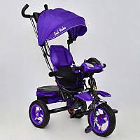 Велосипед 3-х колёсный 6699 Best Trike ФИОЛЕТОВЫЙ ЧЕРНАЯ РАМА, надувные колёса, поворотное сидение, фара
