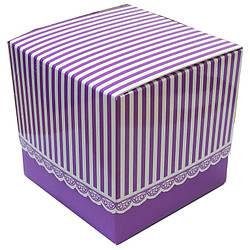 Упаковка для гуртки картонна з кришкою (Ажур) фіолетова