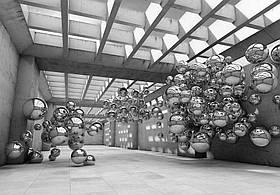 Фотообои готовые Wizard+Genius 368x254 см Серая комната с шарами (10132CN)