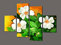 Модульная картина Цветы 120*93 см Код: 396.4к.120