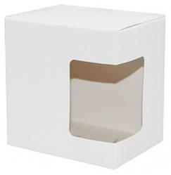 Упаковка для гуртки картонна з кришкою з вікном (біла)