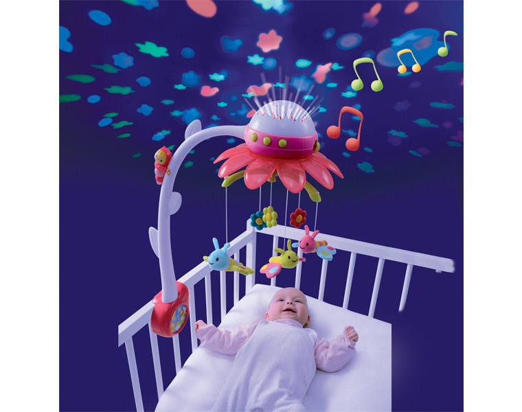 Музыкальный мобиль на кроватку с проектором карусель музыкальная Smoby Cotoons Цветок 110116 розовый