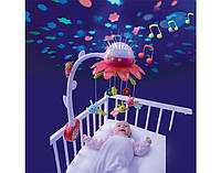 Музыкальный мобиль на кроватку с проектором карусель музыкальная Smoby Cotoons Цветок 110116 розовый, фото 1