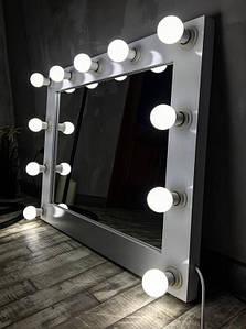 Зеркало Гримерное Белое с Лампочками