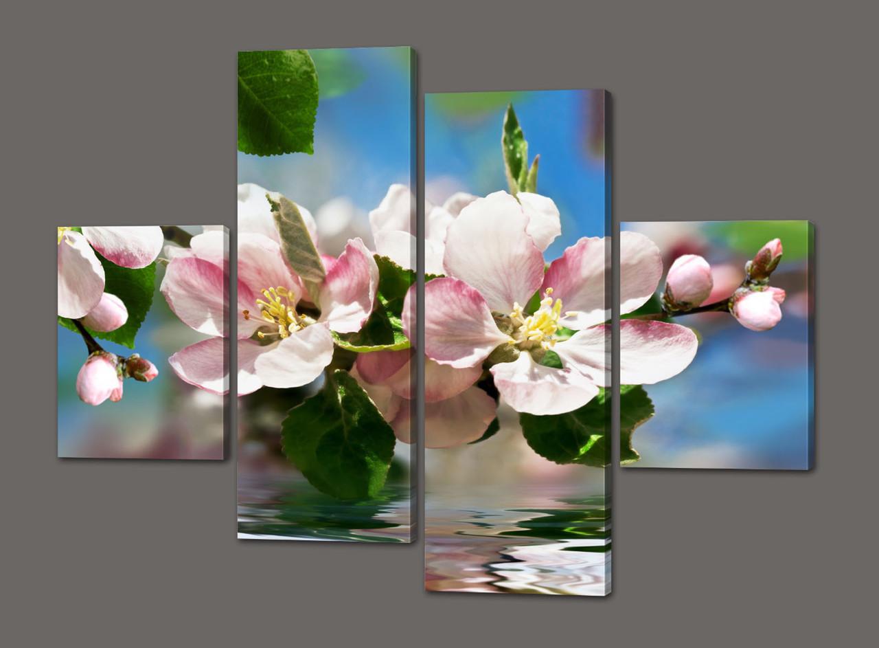 Модульная картина Цветы 120*93 см Код: 395.4к.120
