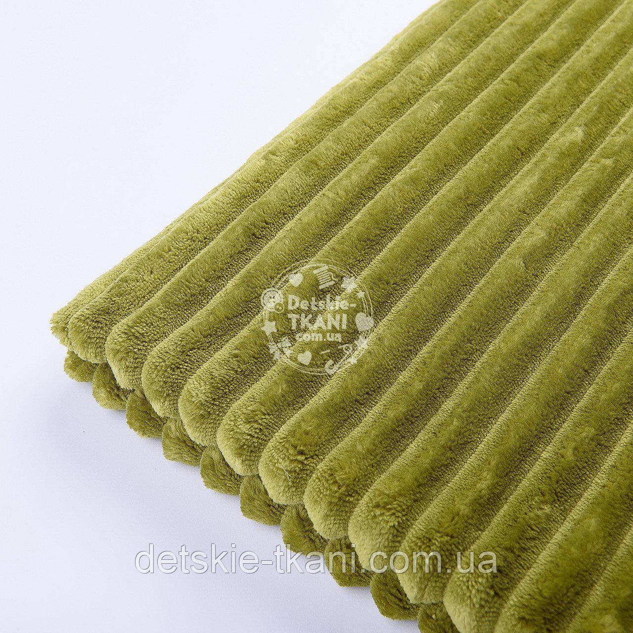 Лоскут плюша в полоску Stripes тёмно-оливкового цвета 20*160 см