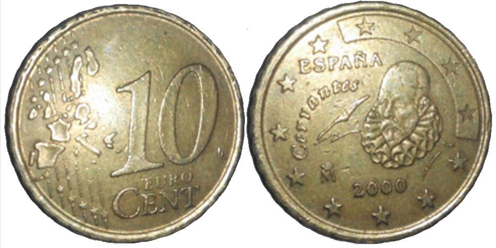 Монета 10 евроцентов Испания 2002г.