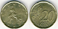 Монета 20 евроцентов Италия 2002г.