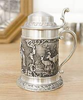Коллекционная рюмка с крышкой, мини бокал, пищевое олово, Германия, охота, фото 1